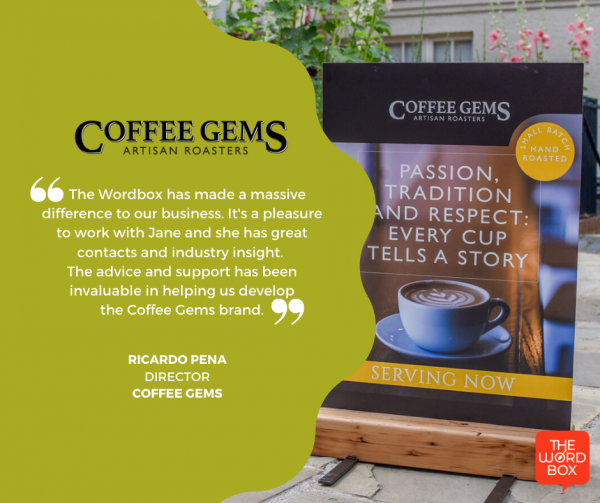 Wordbox testimonial Coffee Gems